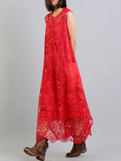 Embroidery Hollow Asymmetric Pocket Spaghetti Double Lace Dresses