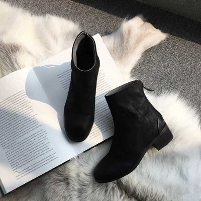 2019 autumn and winter new women's flat with thick Martin boots