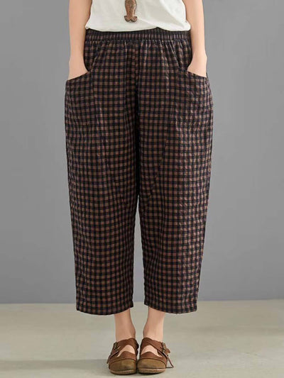 Plus Size Plaid Pocket Ankle Length Loose Linen & Cotton Harem Pants