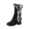 Winter new lazy rabbit hair warm round head plus velvet snow boots
