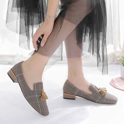 Square head plaid hot sale single shoes-1