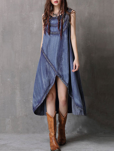 Fashion Asymmetric Sleeveless Round Neck Tassel Split Denim Dresses