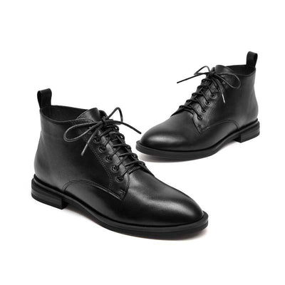 Autumn and winter new British style leather wild flat boots