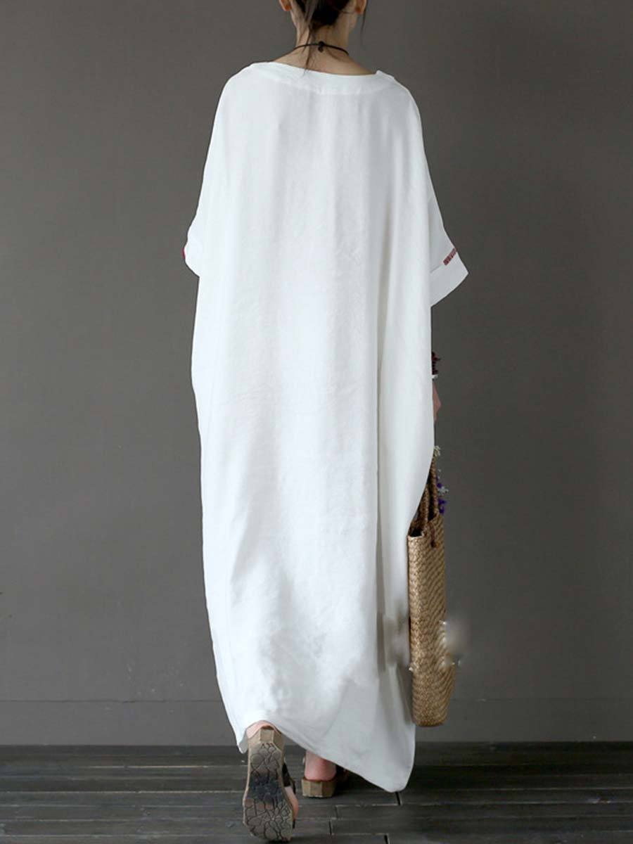 Loose Round Neck Short Sleeve Asymmetric Ankle Length Linen & Cotton Dresses