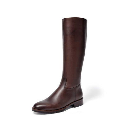 New leather round head fashion long tube British retro boots