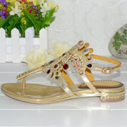 Bohemian Thong Rhinestones Buckle Ankle Strap Sandals