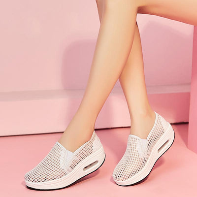 Net face hollow platform muffin casual sports shoes