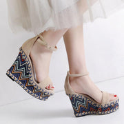 Plus Size Bohemian Hollow Ankle Strap Buckle Open Toe Wedges