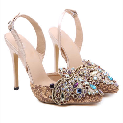 Colored rhinestone high heel sandals