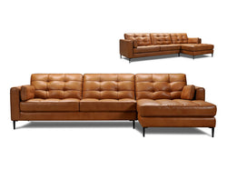Linus Leather Chaise Sectional - Light Brown Leather