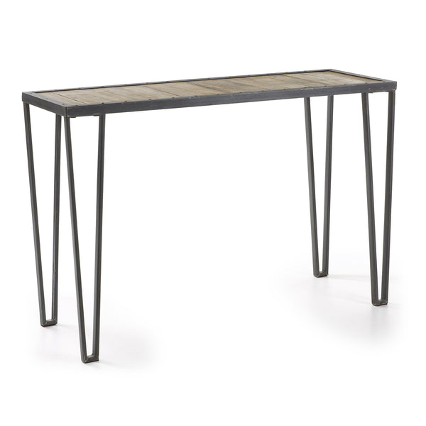 La Forma Rotcip Console Grey Iron Frame & Mango Wood Top