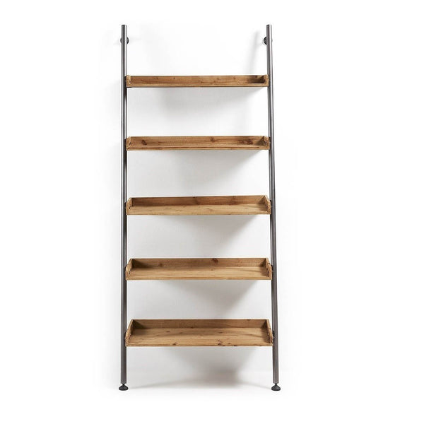 La Forma Belamo Bookshelf Natural Wood & Metal Frame Black