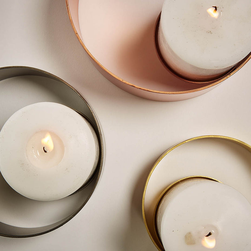 La Forma Spin Set of 3 Candleholders Copper, Pewter & Brass