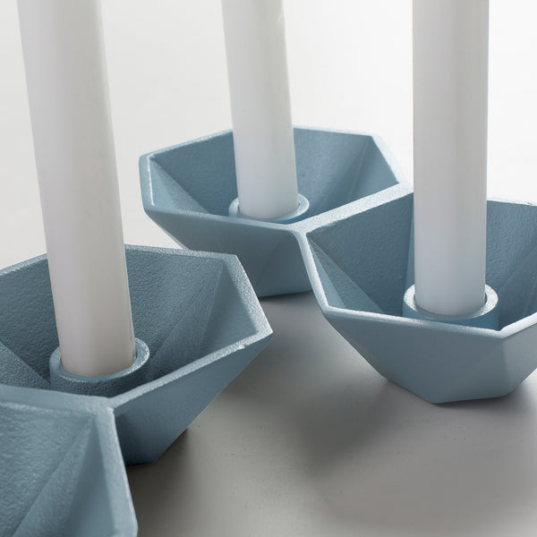 La Forma Talks Set of 2 Candleholders Light Blue