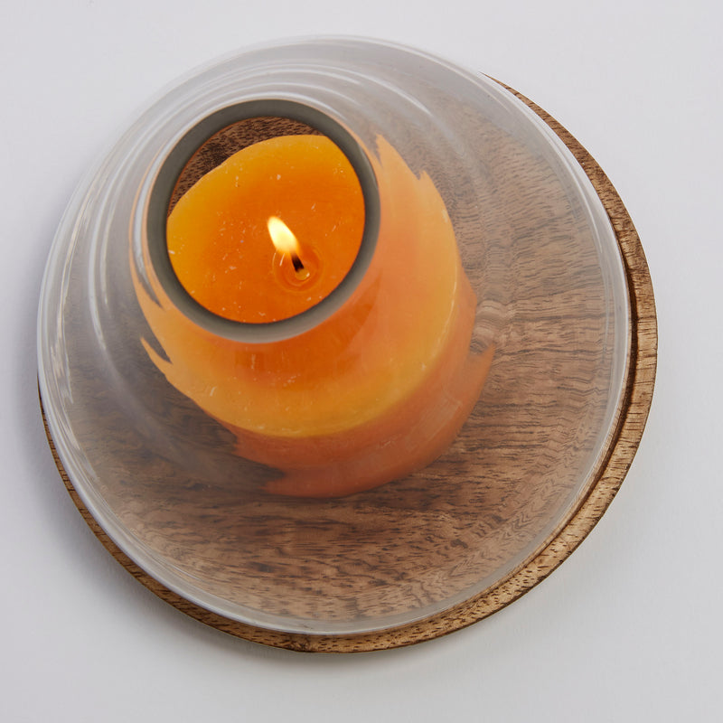 La Forma Cowall Wooden Base Candleholder with Glass Lid