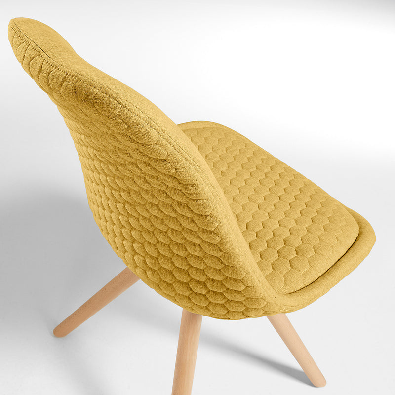 La Forma Lars Chair Natural Wood & Quilted Fabric
