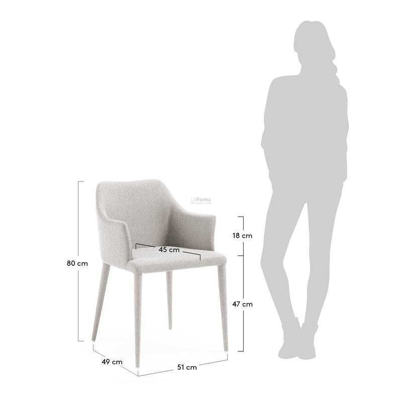 La Forma Danai Armchair Eco Nobuck Light Grey