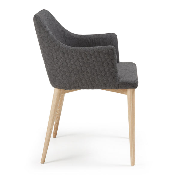 La Forma Danai Arcmchair Natural Wood Quilted Fabric Dark Grey