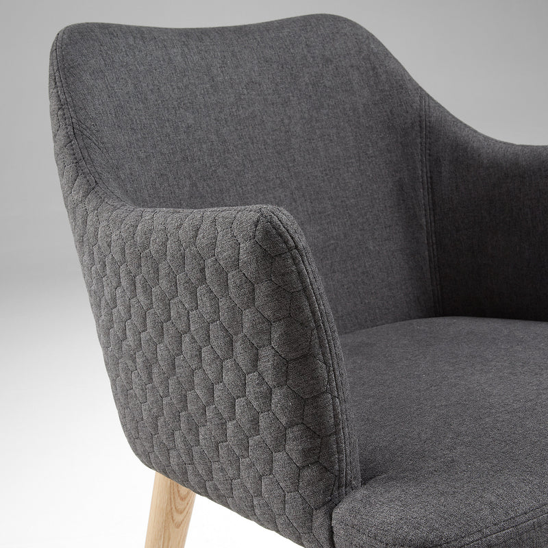 La Forma Danai Armchair Natural Wood Quilted Fabric Dark Grey