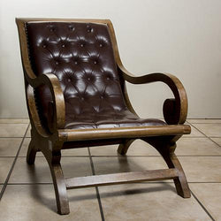 Arm chair full leather/teak wood