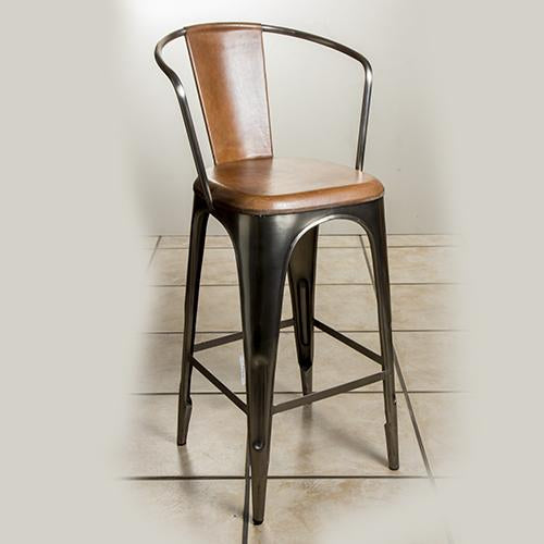 Leather/metal bar chair
