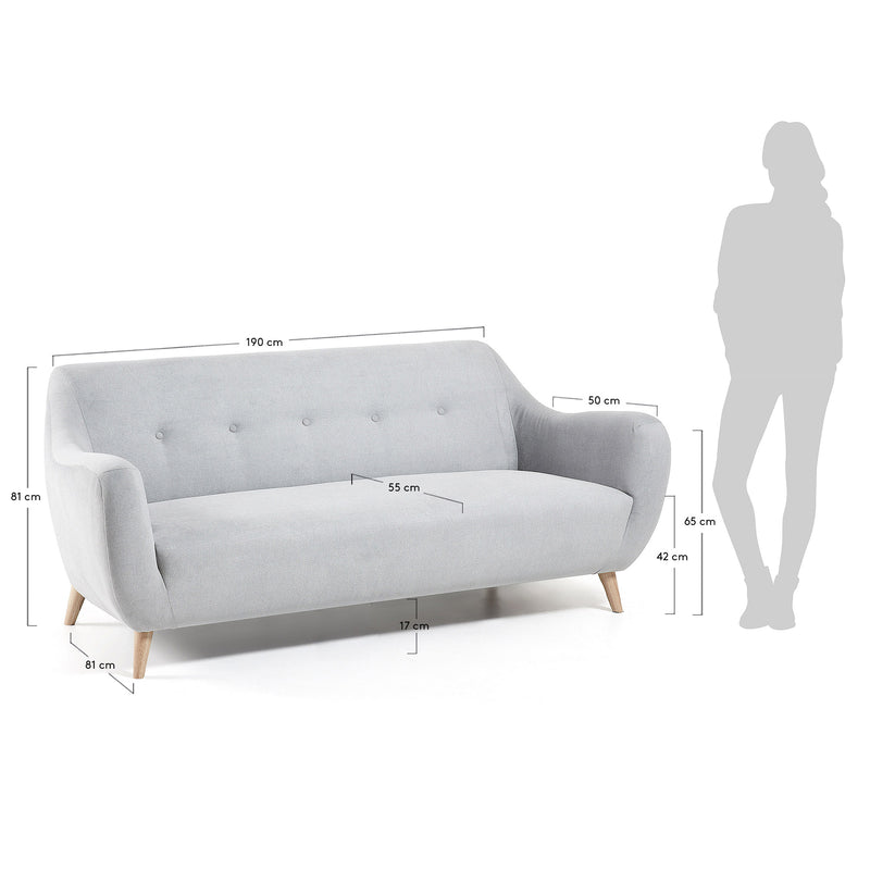 La Forma Opal 3 Seater Sofa Light Grey