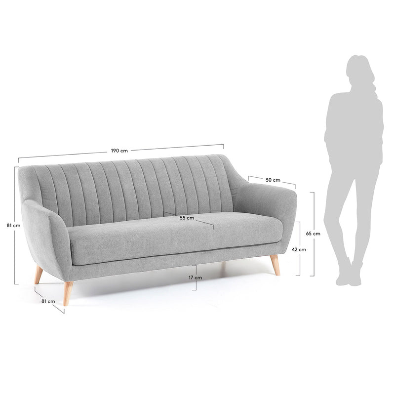 La Forma Off 3 Seater Sofa Light Grey