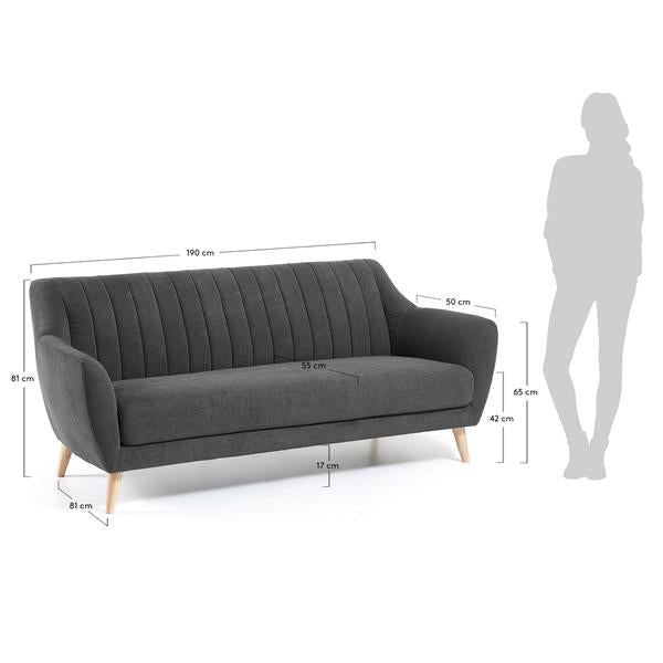 La Forma Off 3 Seater Sofa Dark Grey