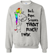 Unicorn Rock paper scissors throat punch I win