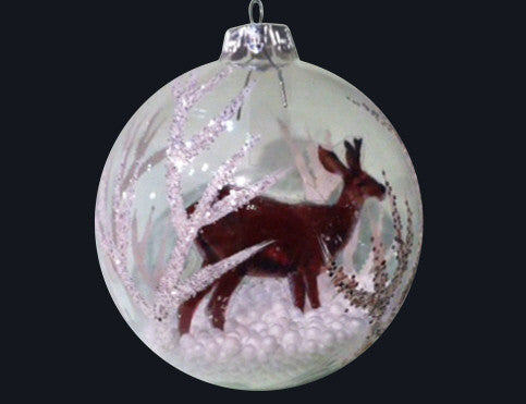 Reindeer & Glitter Leaf Clear Glass Bauble