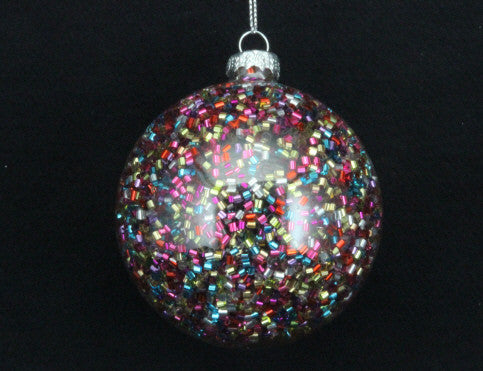 Clear Bauble with Multi Colour Beads