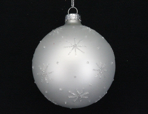 White Bauble with Silver Glitter Stars