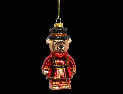 Glass Beefeater Teddy Christmas Tree Decoration