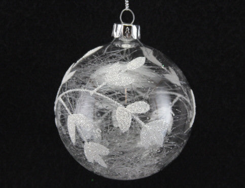 Silver Leaf Clear Glass Bauble
