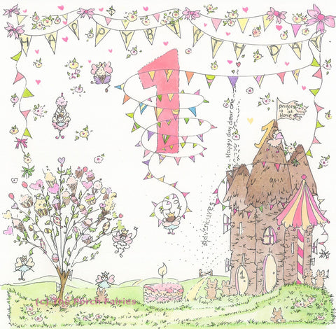 The Porch Fairies Birthday Card - Girl's Age 1