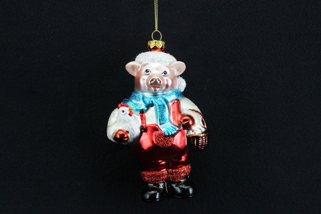 Painted Glass Santa Pig Tree Decoration