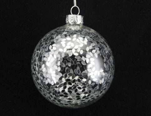 Silver Confetti Glass Bauble