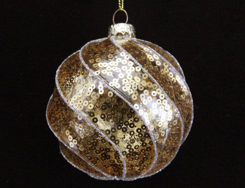 Gold Sequin Glass Bauble