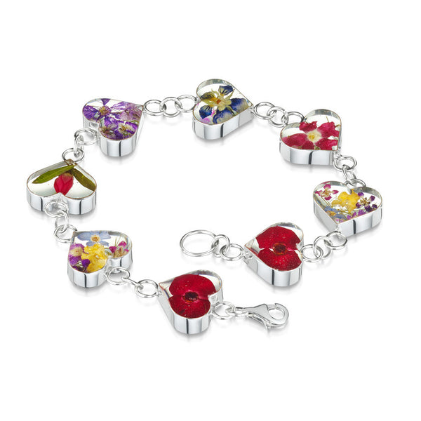 Shrieking Violet Mixed Flower Bracelet - Heart