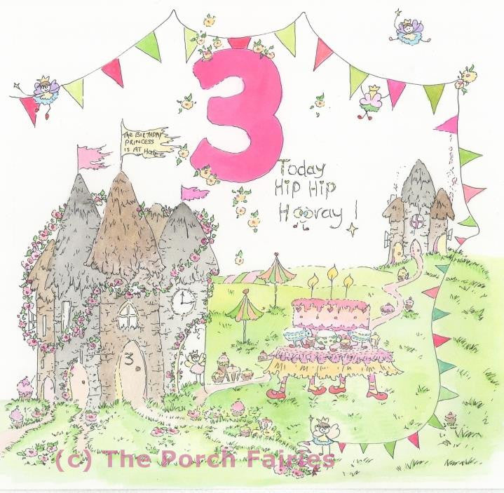 The Porch Fairies Birthday Card - Girl's Age 3