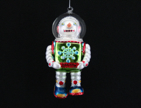 Painted Glass Snowman Robot Tree Decoration