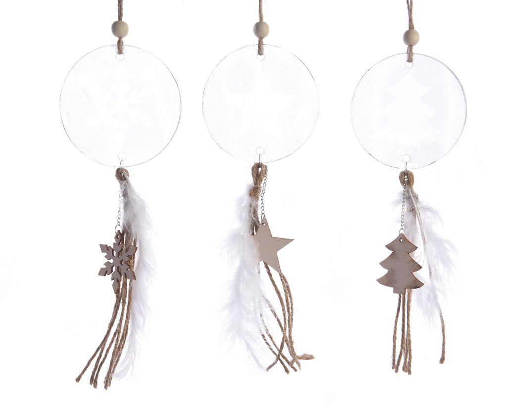 Glitter Disc Feather & Wood Decoration - Snowflake/Star/Christmas Tree