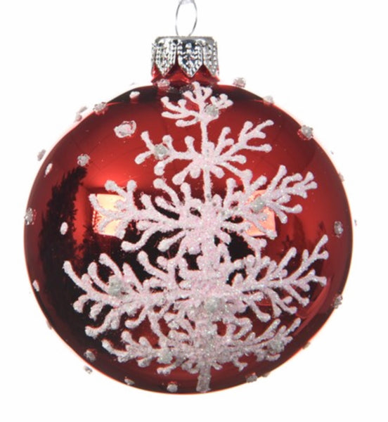 Christmas Red & White Glitter Bauble