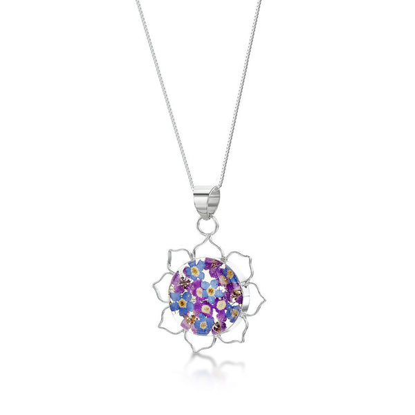 Shrieking Violet Purple Haze Pendant Necklace - Lotus Flower