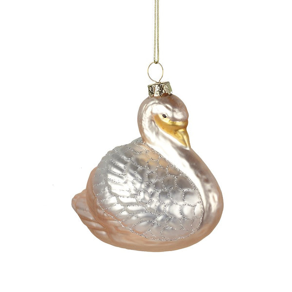 Glass Swan With Gold Detail Swan Hanging Decoration