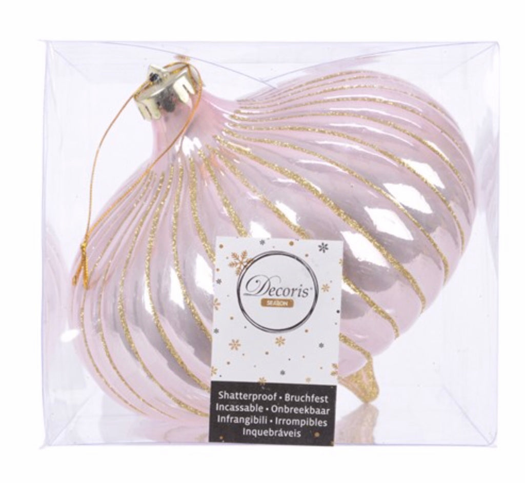 Large Plush Pink & Gold Glitter Onion Bauble - Boxed