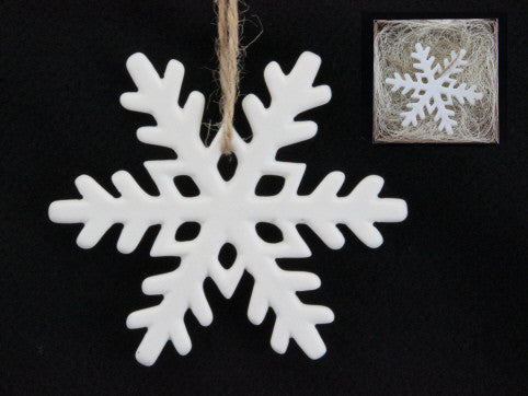Small White Ceramic Snowflake Tree Decoration (Boxed)