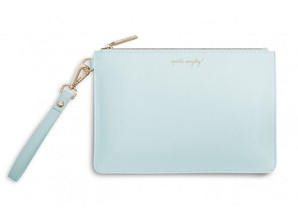 Katie Loxton Secret Message Pouch - Sparkle Everyday! / Leave a Little Sparkle Wherever You Go! (Pale Blue)