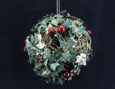 Glitter Twig & Holly Tree Decoration