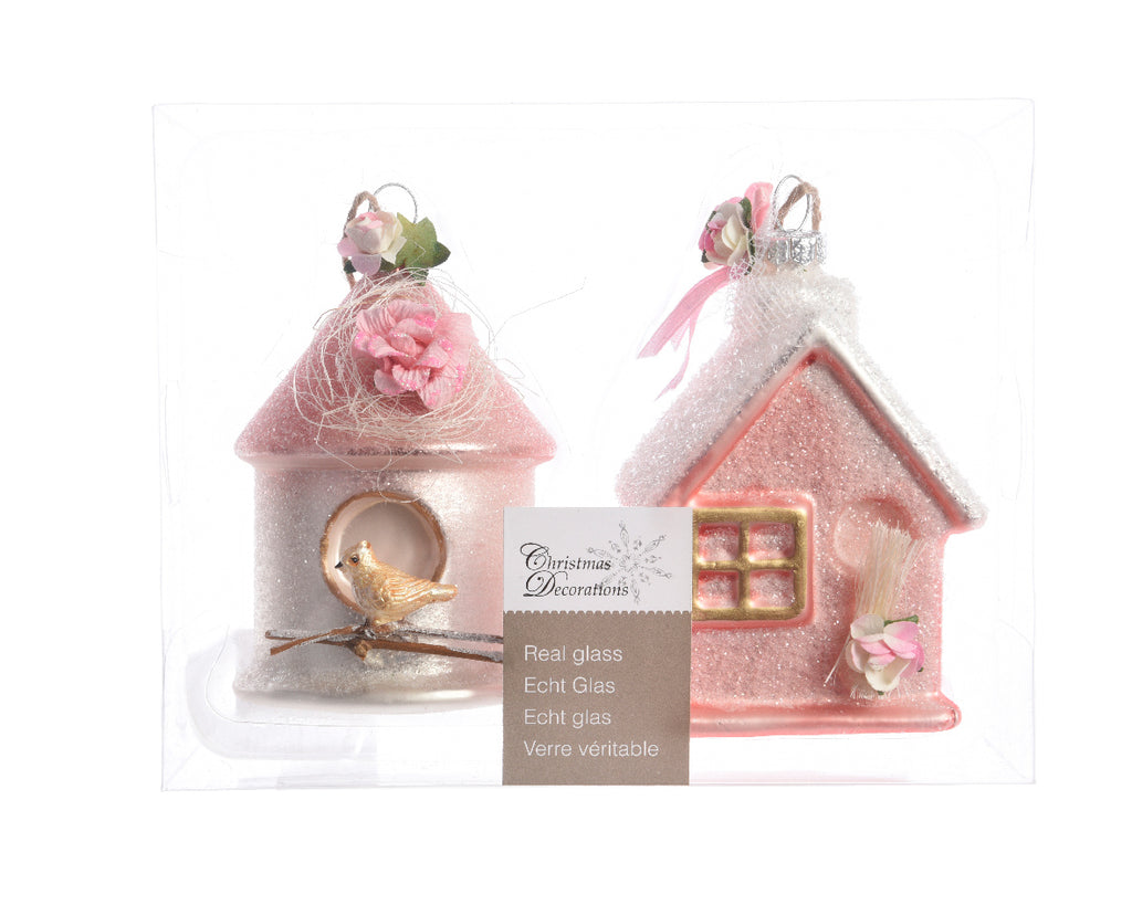 Set of 2 Glass Houses with Roses Christmas Tree Decorations